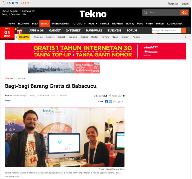 Bagi-bagi Barang Gratis di Babacucu - Kompas.com Tekno 2014-12-01 11-51-09
